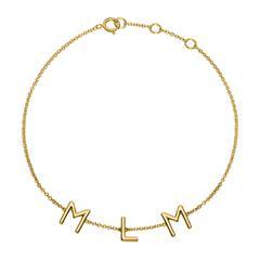 14ct. Gold Bracelet With 3 Letters Or Symbols