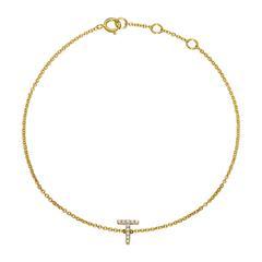 14ct. Gold Bracelet With Diamonds, Letter, Symbol