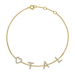 14ct. Gold Bracelet With Diamonds, 4 Letters