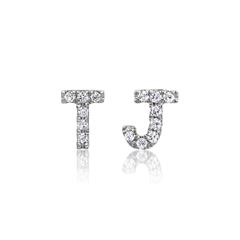 585er Weißgold Ohrstecker mit Diamanten, Buchstaben