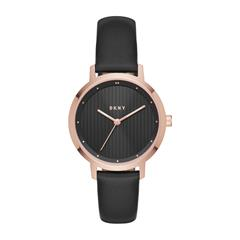 Watch For Ladies With Leather Strap, Black Rosé