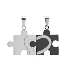 Partneranhänger Puzzleform Edelstahl poliert