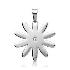 Moderner Edelstahlanhänger sternförmig Zirkonia