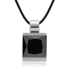 Kautschukkette Anhänger schwarzer Stein
