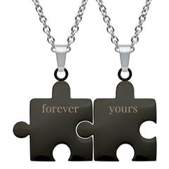 Partnerketten Forever yours aus schwarzem Edelstahl