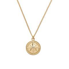 Damenkette Windrose aus 925er Silber, gold