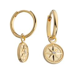 Creolen Windrose für Damen aus 925er Silber, gold