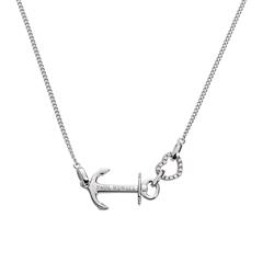 925er Silberkette Anchor Heart mit Zirkonia