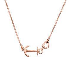 Damenkette Anchor Heart aus Sterlingsilber, rosé