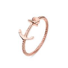 Damenring Anchor Rope aus rosévergoldetem Edelstahl