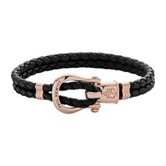 Phinity Armband aus schwarzem Leder, rosé