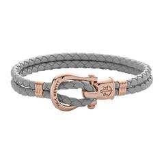 Phinity Armband aus Leder und Edelstahl grau rosé