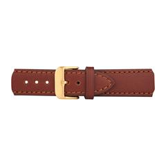 Uhrenarmband Leder Braun Gold 20 mm Bandanschluss