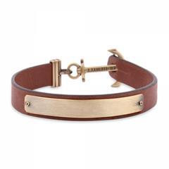 Signum Armband aus braunem Leder, gravierbar