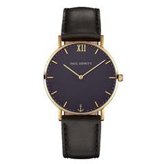 Uhr mit schwarzem Lederband