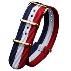 PAUL HEWITT Uhrenarmband Gold PH5GN-06 Rot-Weiss-Blau