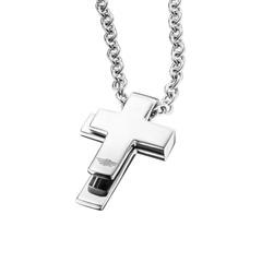 Kreuzkette für Herren Edelstahl