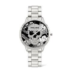 Ladies' Quartz Watch In Stainless Steel, Skull, Flowers