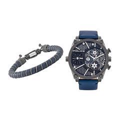 Set Vigor mit Herrenuhr und Armband, dunkelblau