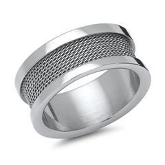 Moderner Ring Edelstahl mit Stahlseil-Optik