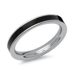 Ring aus Edelstahl mit schwarzer Emaille