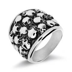 Ring Totenköpfe für Herren aus Edelstahl