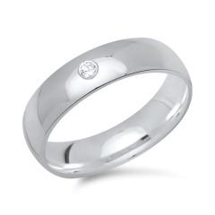 Moderner Ring 925 Silber mit Zirkonia 5mm