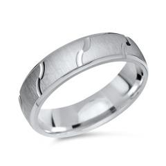 Silberring matt Glanzrillen 925er Silber 6 mm