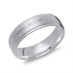 Matter Silber Ring Glanzrille 925 Silber in 6 mm