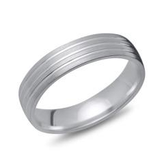 Silberring 925er Silber matt Glanzrillen 5 mm