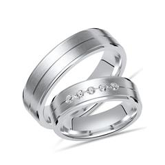 Trauringe Silber Eheringe 925 Gravur 5 Diamanten