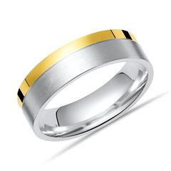 925 Silberring mit polierter goldener Kante