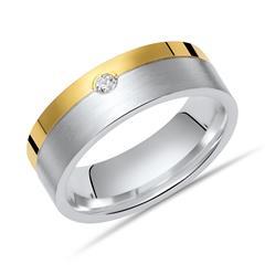 925 Silberring Zirkonia polierte goldener Kante