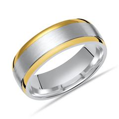 Matter Silberring polierte goldene Kanten