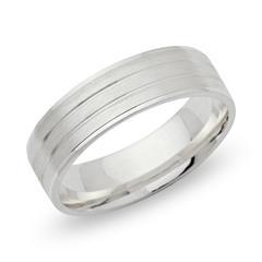 Matter 925 Silberring mit Glanzrillen