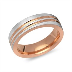 Bicolor Ring 925er Sterlingsilber gravierbar