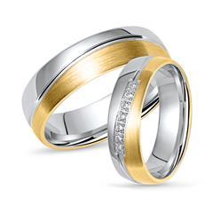 Vivo Bicolor Wedding Rings Silver With Zirconia