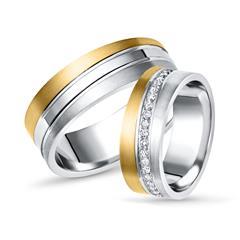 925er Silber Trauringe teilvergoldet von Vivo