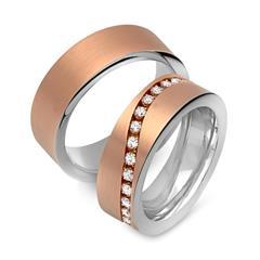 Silber Eheringe rosévergoldet mit Steinbesatz