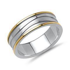 Vivo-Herrenring 925er Silber teilvergoldet
