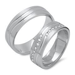 Vivo-Eheringe aus 925er Silber teilpoliert