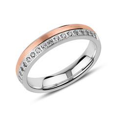 Gravirbarer Ring aus 925er Silber, rosé mit Zirkonia