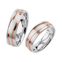 Engravable Wedding Rings In Sterling Silver, Rose Gold-Plated