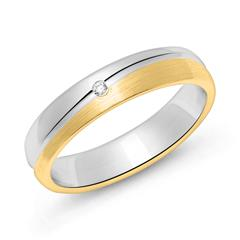 Damenring aus Sterlingsilber, teilvergoldet, mattiert