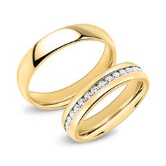 Wedding Rings Stainless Steel Wedding Rings 5mm Gold Plated