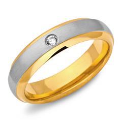 Edelstahl Ring vergoldet 5mm Zirkonia