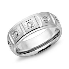 Moderner Ring Edelstahl 7mm Breite Zirkonia