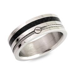 Top Ring Edelstahl Stahlseil und Carboneinlage