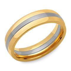 Edelstahlring teilpoliert vergoldet 6mm breit