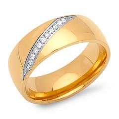 Ring Edelstahl vergoldet 8mm mit Zirkonia